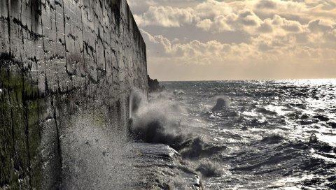 Стена, море, волны, удары