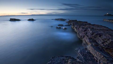 Море, вечер, сумерки, великобритания, блоки