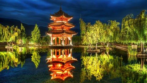 Беседка, фарфор, озеро, деревья, свет
