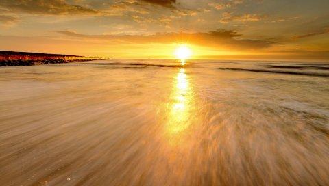 Море, поток, волна, приток, вечер, спад