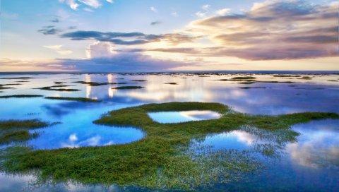 Небо, облака, растительность, краски, синий, зеленый, цвета