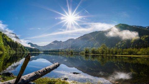 Солнце, лучи, день, озеро, горы, журнал, свет