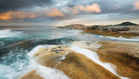 Океан, песок, волны, побережье, море