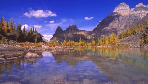 Горы, вода, озеро, день