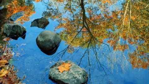 Осень, камень, листья, цвета, отражение, зеркало