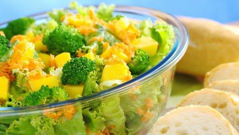 Салат, овощи, преимущество, брокколи, цвет