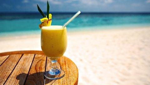 Коктейль, пляж, ананас, отдых, напиток, канальца
