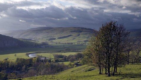 Долины, деревья, горы, зелень, трава, дороги, следы