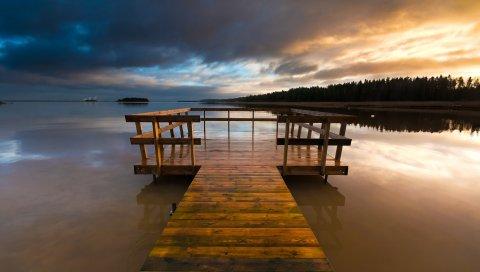Мост, озеро, деревянный, пирс, вечер, шведский