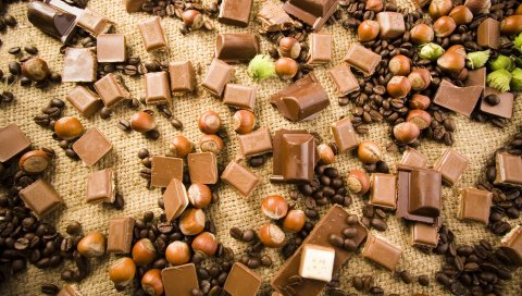Шоколад, орехи, зерно, кофе, плитка, дерево