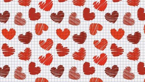 Бумага, клетки, сердце, поверхность, текстура