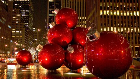 Рождественские игрушки, шары, большой, пейзаж, город, праздник
