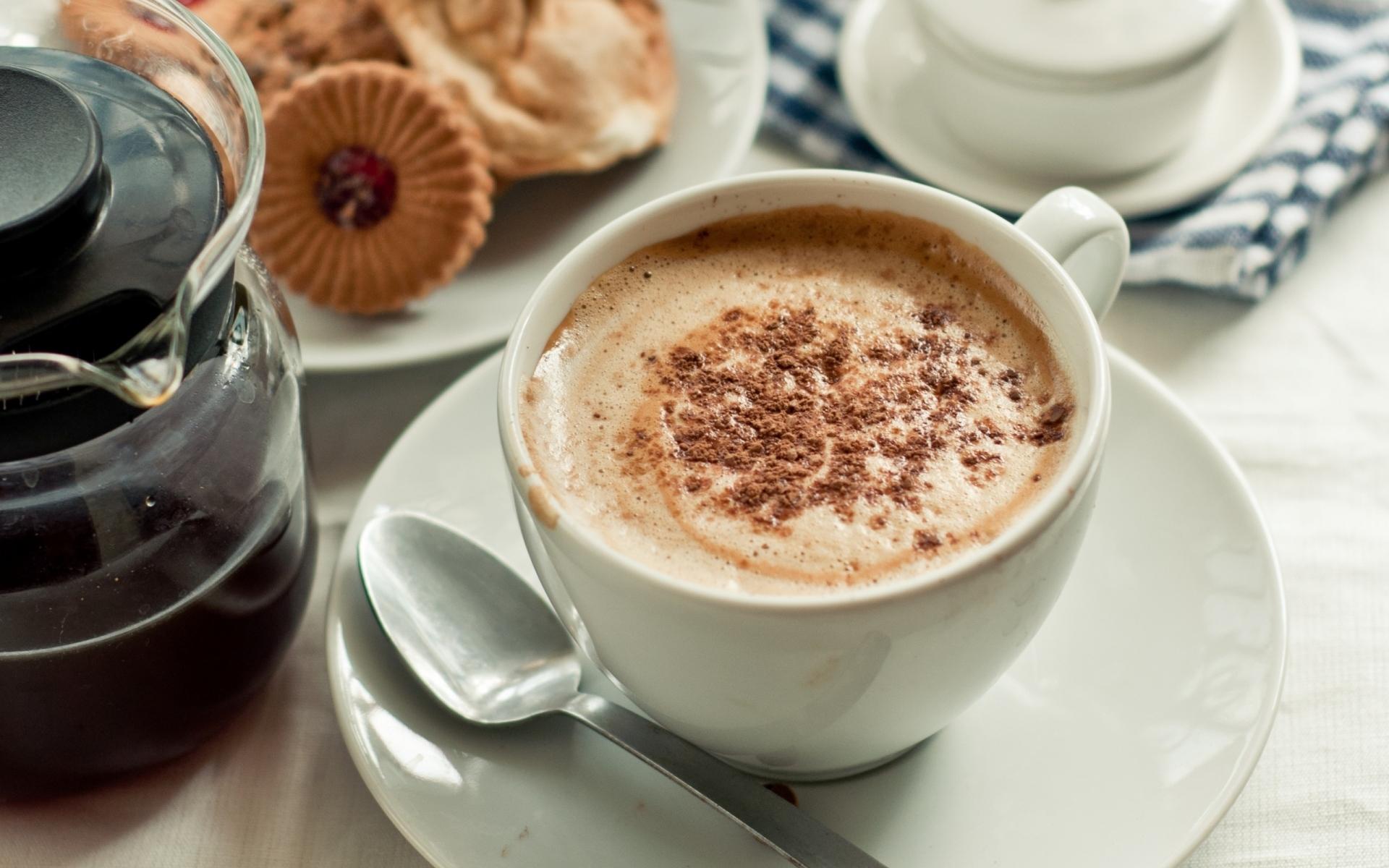 Картинки Чашка, кофе, кожа, корица, печенье, утро фото и обои на рабочий стол