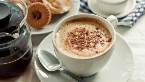 Чашка, кофе, кожа, корица, печенье, утро