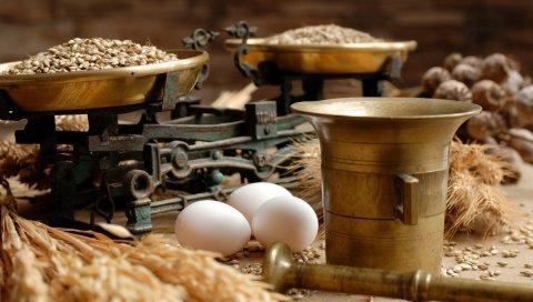 Яйца, зерно, зерно, весы