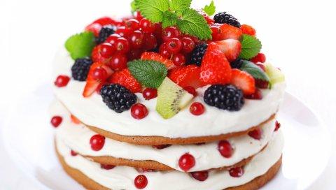 Пирог, смородина, клубника, киви, ежевика, сливки, слои, печенье
