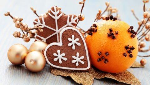 Сердце, снежинка, апельсины, печенье, новый год, рождество, сферы