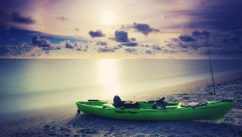 Лодка, пляж, закат, песок, море