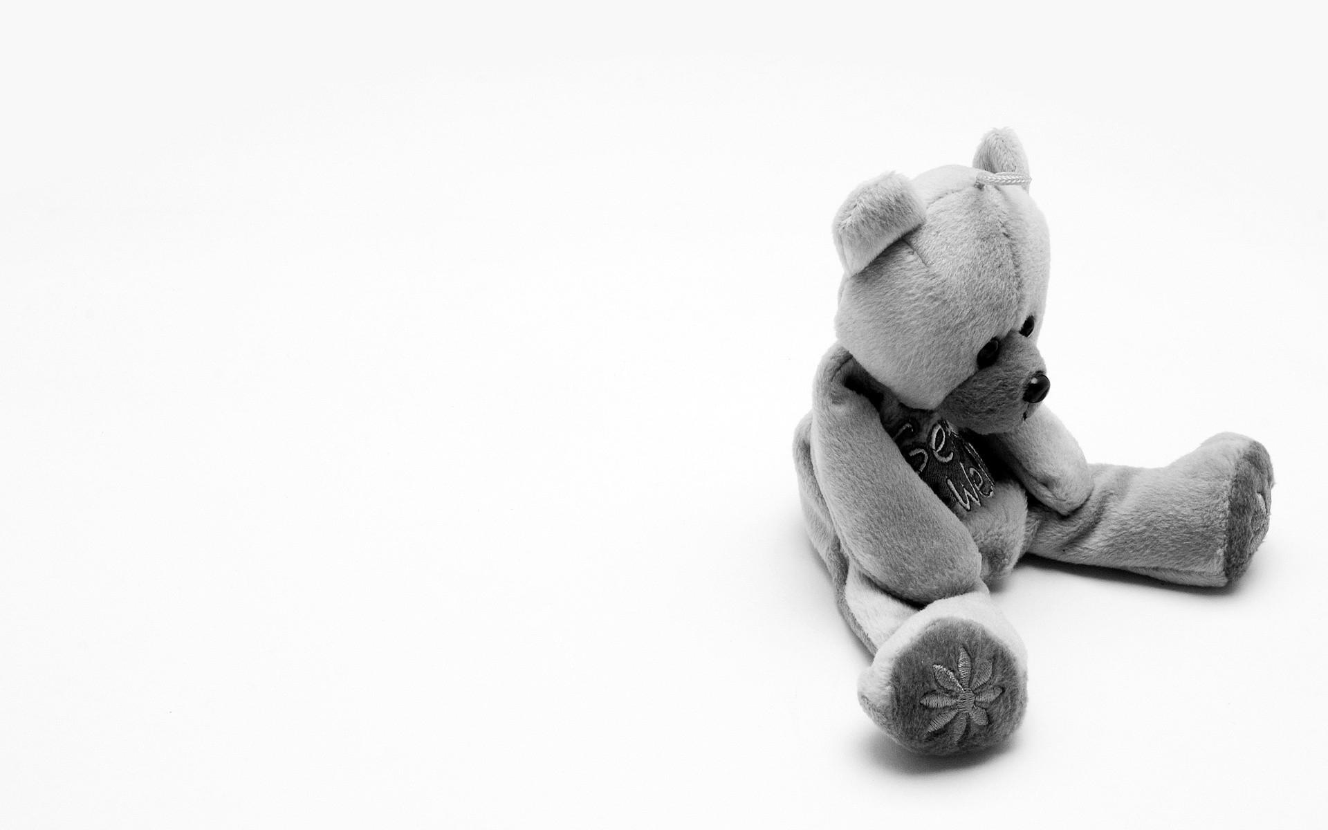 Картинки Медведь, игрушка, мягкий, черно-белый фото и обои на рабочий стол