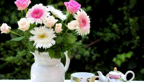 Розы, хризантемы, цветы, букет, кувшин, еда, набор чая