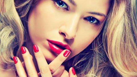 Девушка, глаза, лицо, макияж, маникюр, голубые глаза
