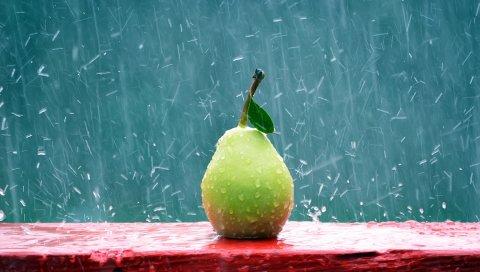 Груша, фрукты, дождь, капли