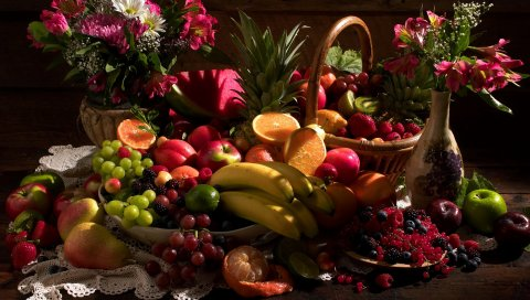 Натюрморт, стол, фрукты, цветы