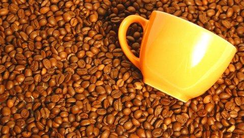 Кофе, чашка, желтый, зерновые