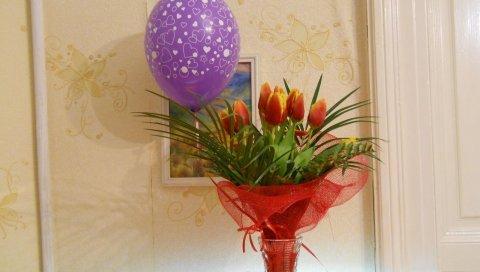 Тюльпаны, цветы, букет, украшение, мяч