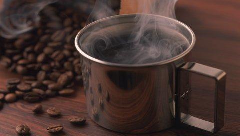 Кофе, горячий, кружка, зерно