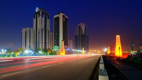 Угрожающий, город, ночь, дорога, свет, движение