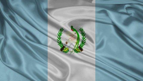 Флаг, символы, цвета, материалы, шелк, растения, ветки, гватемала