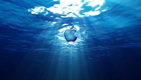 Яблоко, mac, бренд, логотип, подводный, огни