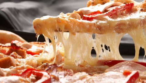 Пицца, сыр, кусок, помидоры, паприка