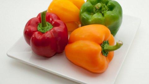 Перец, овощи, разноцветные, тарелки