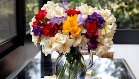 Цветы, букеты, горшок, стол, ткань