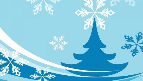 Рождественская елка, снежинка, фон