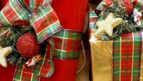 Подарки, упаковка, праздник, рождество, иголки