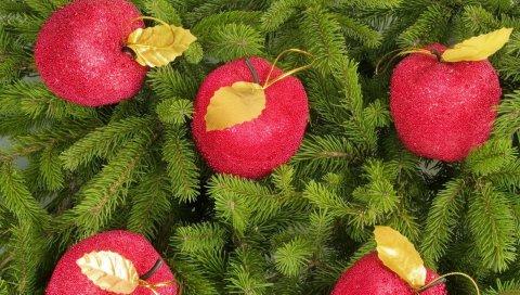 Дерево, ветки, иголки, рождественские украшения, яблоки, новый год, праздник, рождество
