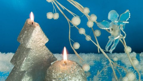 Свечи, дерево, шар, огонь, ангел, рождество, праздник