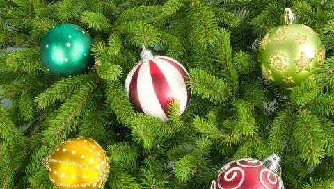 Рождественская елка, рождественские украшения, воздушные шары, разные, праздник, новый год