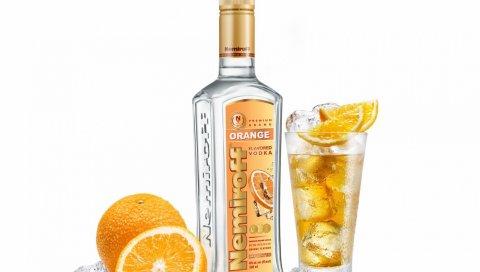 Немирофф, водка, стекло, лед, апельсин, листья мяты