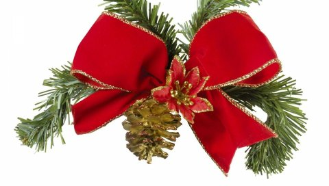 Лента, шишка, веточка, иголки, рождество, праздник