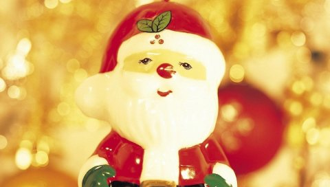 Санта-Клаус, игрушка, Рождество, праздник, макро