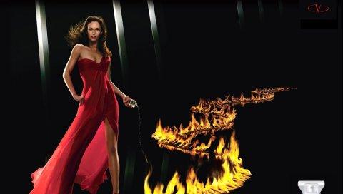 Очень valentino от valentino, девушка, огонь, парфюм