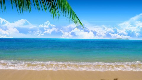 Берег, пляж, песок, море, облака, сердце