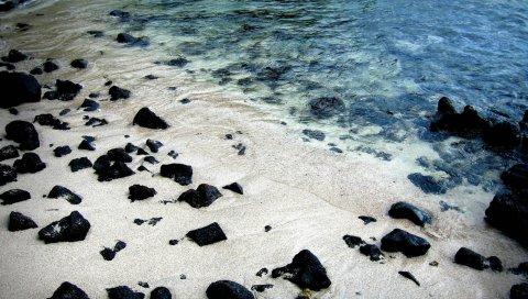 Камни, черный, защищенный, вода, песок