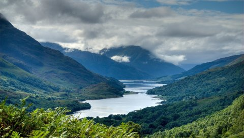 Горы, высота, шотландия, озеро, живописные, небо