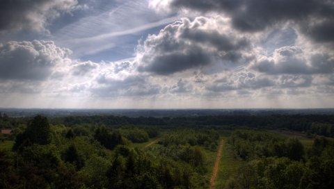 Небо, деревья, высота, тени, дороги, сельское хозяйство