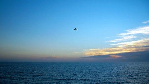 Море, самолет, высота, полет, горизонт, вечер